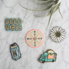 Compass Iron On Patch - Patches - Embroidered Applique - Neon - Wildflower + Co. - Multiples
