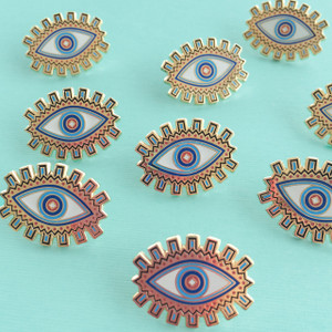 Evil Eye Flair Pin - Enamel - Tiny - Blue - Gold - Wildflower + Co. - Multiples - Turq