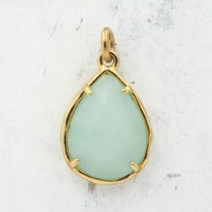 Chrysoprase Teardrop Briolette Pendant Charm - Gold - Faceted - Semiprecious Semi Precious Wildflower Co