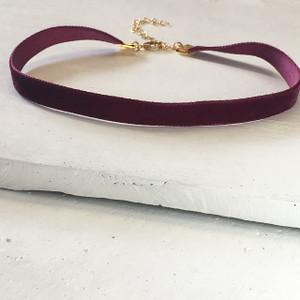 Velvet Choker Necklace - Burgundy & Gold - Wildflower + Co