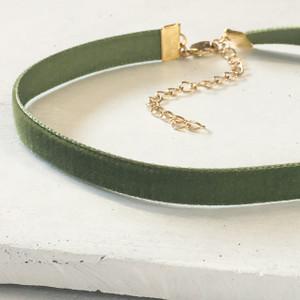 Velvet Choker Necklace - Olive Green & Gold - Wildflower + Co (2)