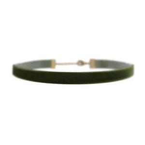 Velvet Choker Necklace, Olive