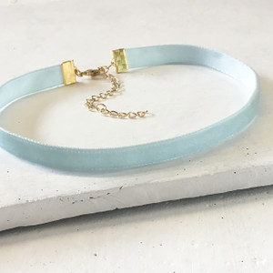 Velvet Choker Necklace - Pastel Baby Blue & Gold - Wildflower + Co (3)