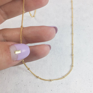 Beaded Fine Chain Necklace - Gold - Wildflower Co. 2