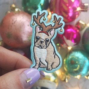 Frenchie Dog Reindeer Antlers Christmas Holiday Iron On Patch Patches Applique Wildflower Co (2)