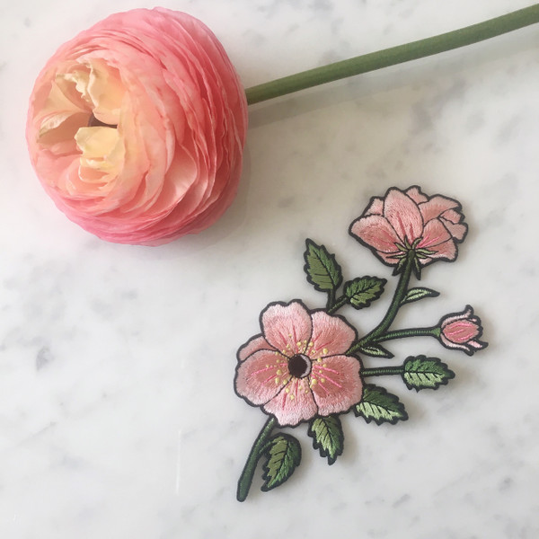 Flower patch right wildflower co tr00147 mlt os r right pink flower patch embroidered iron on mightylinksfo Images