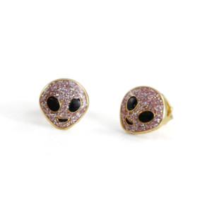 Alien Stud Earrings -  Lilac Glitter & Gold - Wildflower + Co.
