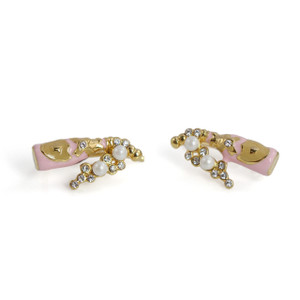 Rose Champagne Stud Earrings | Pink & Gold | Wildflower + Co.