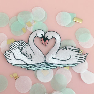 Love Swans Patch - Iron On Patches - Embroidered - Wedding Bridal Bride to Be Bridal Shower - Wildflower Co (3)
