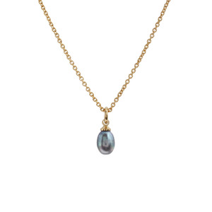 Pearl Necklace, Grey Pearl & Gold