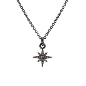 North Star Necklace, Pave Crystal & Hematite