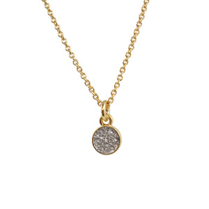Pave Crystal Disc Necklace, Gold