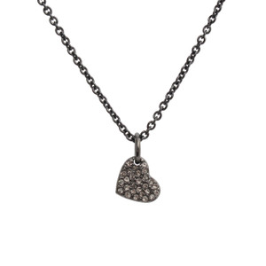 Heart Necklace, Pave Crystal & Hematite