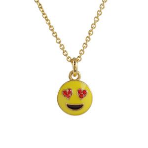 Emoji Necklace - Heart Eyes LOVE! | Enamel & Gold | Wildflower + Co. - Dainty - Tiny