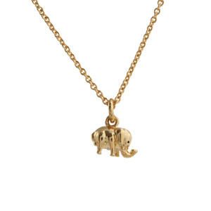 Dainty Gold Elephant Necklace - Good Luck Charm - Dainty Elephant Necklace, Gold - Wildflower + Co. - Tiny, Delicate, Simple