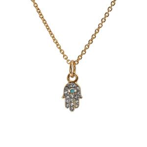 Hamsa Necklace, Pave Crystal & Gold