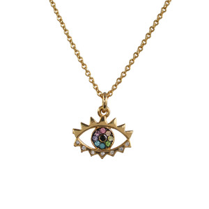 Evil Eye Necklace, Rainbow Pave & Gold - Dainty Gold Necklace - Wildflower + Co. Jewelry