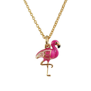 Flamingo Necklace, Pink & Gold - Wildflower + Co. Jewelry