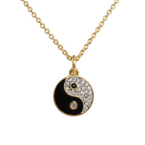 Yin Yang Necklace, Pave Crystal & Gold - Wildflower + Co.