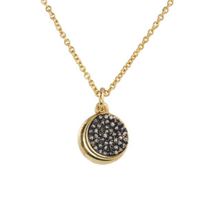 Crescent Moon Disc Necklace, Pave Crystal & Gold