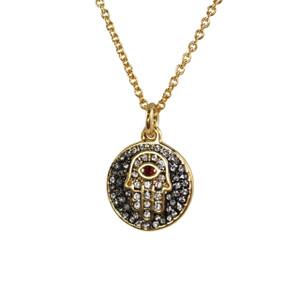 Hamsa Medallion Necklace, Pave Crystal & Gold