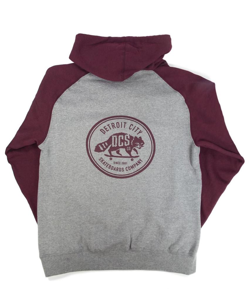 DCS New Raccoon Logo Hooded Sweatshirt - Grey/Burgundy