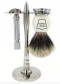 Parker 87R Short Handle Butterfly Razor & Premium Best Badger 3-Piece Shave Set