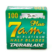 7AM HI-PLATINUM Half Blades- 100 Count for Barber Shavette Razors