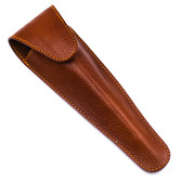 Parker Saddle Brown Leather Travel Razor Case for Long Handle Cartridge Razors