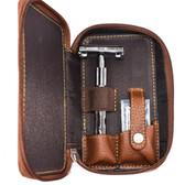 Safety Razor Gift Set  - Parker 22R, Blades & Genuine Leather Double Edge Zippered Case
