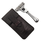 Travel Mach 3 Razor & Leather Case - From Parker Safety Razor