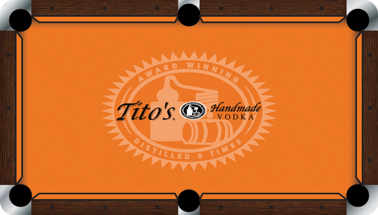 Titos Handmade Vodka Custom Pool Table Felt - Custom logo pool table felt