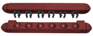 Roman-Style Two-Piece Wall Rack, Mahogany, 6 Cue
