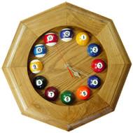 Octagonal Solid Oak Billiards Clock
