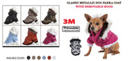These Metallic Fashion Pet Parka Coats are Inner Lined with 3M Thinsulate insulation technology to keep your dog warm all winter.