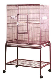 Flight Bird Cage with Stand, Burgandy, 32 x 21 x 63 inch