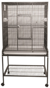 Flight Bird Cage with Stand, Black, 32 x 21 inch x 63