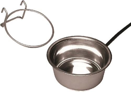 1 quart stainless steel heated pet bowl prevents water from freezing - works great in dog crates or rabbit hutches.