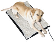 70 watt thermostatically LED controlled weather resistant plastic heated pad with Fleece cover.