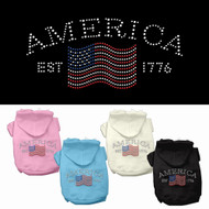 We offer Classic American hoodies for dogs in a variety of colors.