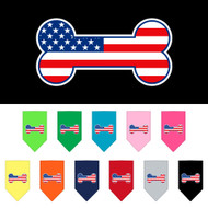 We offer American bone flag bandanas for dogs in many colors.