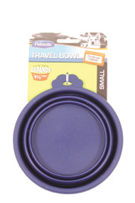 Petmate Travel Bowl For Dogs & Cats, Blue - Small
