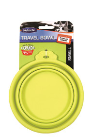 Petmate Travel Bowl For Dogs & Cats, Yellow/Green - Small