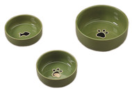 Gilded Paw Cat Dish - Green