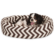 "24"" Chocolate Chevron Sherpa Bagel Bed"
