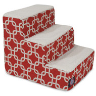 3 Step Red Links Pet Stairs By Majestic Pet Products