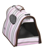 A Sporty Striped Pet Carrier that is Perfect for Traveling.