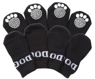 Shop this winter for breathable cotton pet socks with rubberized soles for your dog's little paws.