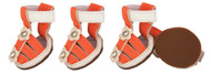 Protect your dog's paws with our orange dog sandals.