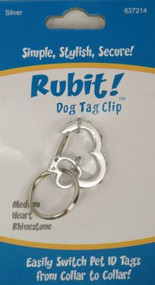 Rubit! Heart Rhinestone Dog Tag Clip - Free Shipping